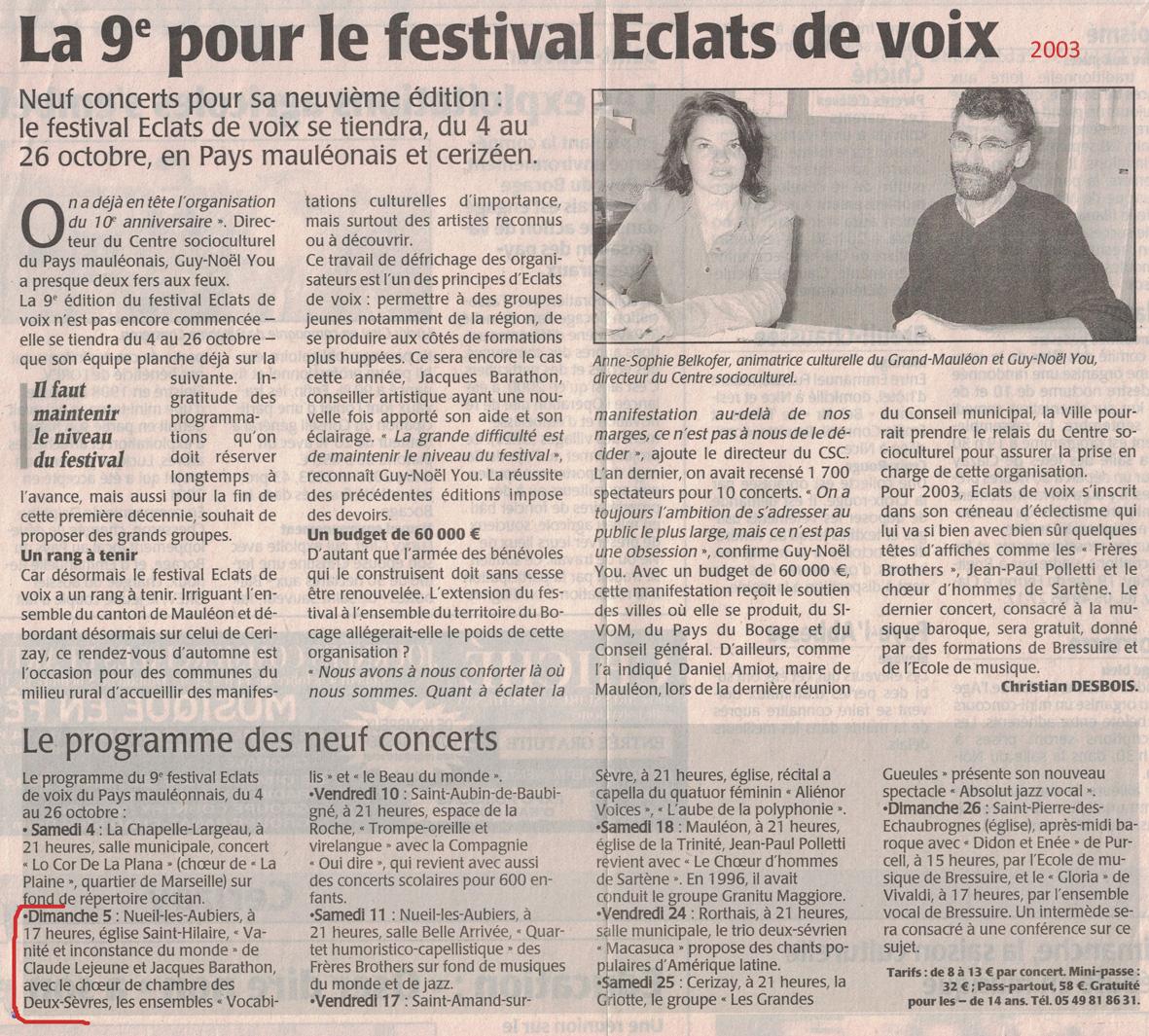 Eclats de Voix 2 2003