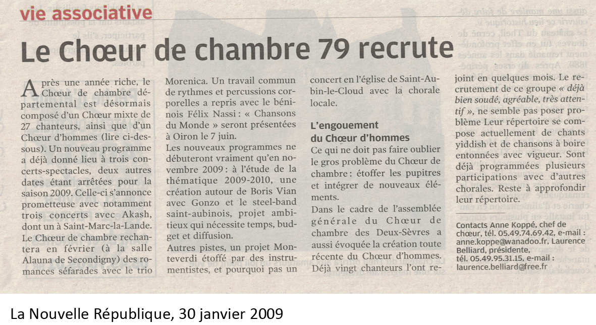 Le choeur recrute, 2009